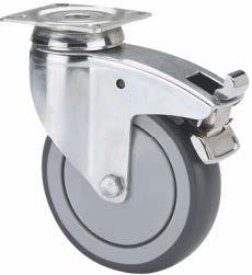 szürke gumis intézményi kerék forgó-fékes villa (golyós csapágy) 100 mm