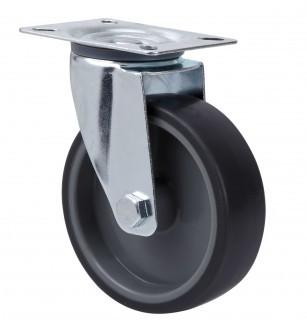 szürke gumis nyommentes kerék forgó villában 80mm