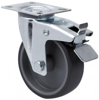 szürke gumis nyommentes kerék forgó-fékes villa 80 mm