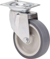 szürke gumis nyommentes kerék forgó villában 60mm