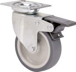 szürke gumis nyommentes kerék forgó-fékes villa 60 mm