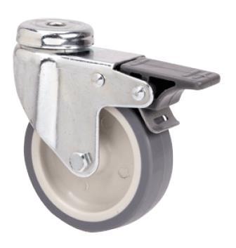 szürke nyommentes hátfuratos kerék forgó-fékes villa 60 mm